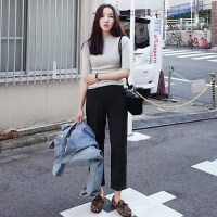 哈伦裤女九分夏2018新款韩版直筒宽松雪纺百搭西装裤子学生香蕉