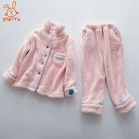 儿童睡衣珊瑚绒冬季加厚款女孩法兰绒家居服套装