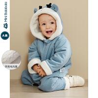 【每满299元减100元】迷你巴拉巴拉童装男宝宝羽绒连体衣2019冬婴儿保暖羊羔毛哈衣爬服