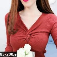 性感大码针织打底衫女秋冬装修身2019套头薄毛衣长袖VV领上衣