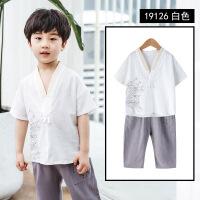 【好货推荐】 儿童复古套装夏季中国风唐装小孩衣服宝宝背心短裤两件套男童汉服