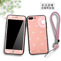 爱心女款苹果x手机壳iphone8plus保护套7边框6sp钢化玻璃仙女硅胶 7p/8p 5.5寸 玻璃粉底爱心
