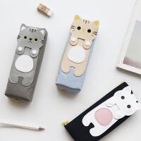 包邮创意猫咪卡通女生可爱韩版帆布笔袋 初中学生文具盒铅笔袋收纳盒学习用品