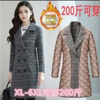 中老年女装风衣外套秋冬季格子大衣中长款妈妈装大码风衣时尚显瘦 XL 建议90-110