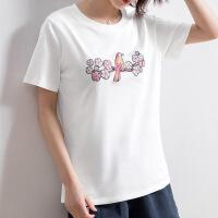 欧美女装重工t恤女 2019夏季新款圆领刺绣上衣女士韩版修身打底衫短袖 白色薄款