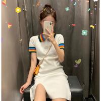 【新品特惠】 夏款很仙法国小众polo连衣裙超仙女闺蜜装甜美复古小个子桔梗裙子 白色