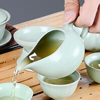 汝窑功夫茶具防烫手泡茶公道杯单个陶瓷侧把泡茶杯分茶器汝瓷哥窑