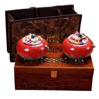 茶叶包装盒空礼盒红茶普洱通用木质包装盒半斤哥窑陶瓷茶叶罐定制