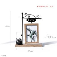 创意个性铁艺水培花瓶桌面相框摆台卧室花器装饰品摆件相片框6寸 LOVE (浅木纹) 6寸