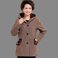 中老年人女装冬装毛呢加绒加厚外套50-60岁妈妈装秋装上衣奶奶装