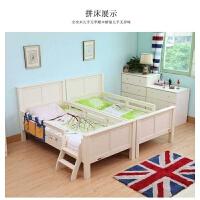 床 拼接床 本屋北欧全实木床带护栏单人床1.2米双胞胎拼接床白蓝色 C款双拼护栏床(白simple white) 15