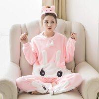 加厚款珊瑚绒睡衣女秋冬季韩版甜美可爱学生卡通法兰绒家居服套装