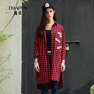 海贝秋装新款衬衫女 欧美风格子字母长款长袖polo领衬衫