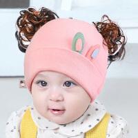 婴儿帽子秋冬0-3-6-12个月男女宝宝假发帽可爱公主帽子冬季