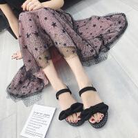夏季新款凉鞋女学生韩版原宿风百搭平底蝴蝶结一鞋两穿凉拖鞋