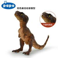 法国PAPO 侏罗纪世界恐龙模型棕色暴龙幼崽恐龙玩具模型收藏模玩