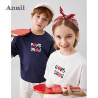 【3件3折】安奈儿童装男童短袖T恤夏装2020新款国潮洋气中大童兵乓球款上衣1