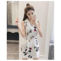 女装半身裙连体裤女夏季新款韩版女装显瘦连衣无袖套装高腰阔腿裤裙连身短裤
