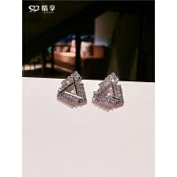 925银针三角形冷淡风耳钉女 气质韩国个性简约hiphop耳环耳饰