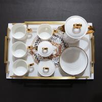 新古典欧式法式美式样板房装饰品摆件骨瓷咖啡杯具咖啡杯套装礼盒 11头镀金 11件