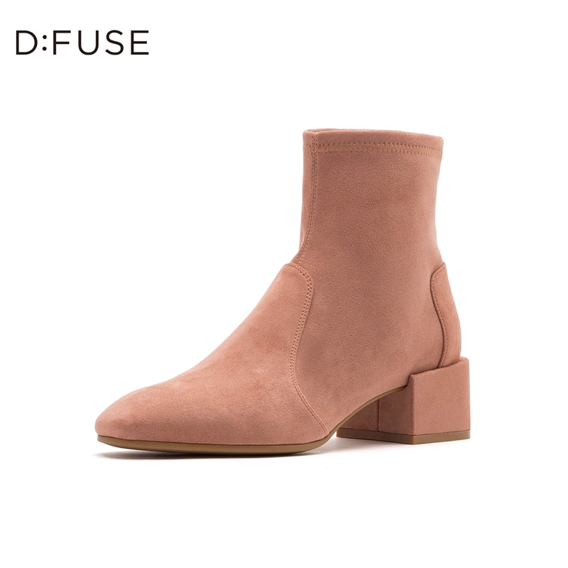 D:Fuse/迪芙斯2019秋冬新款粗中跟小方头瘦瘦靴短靴女DF93116181