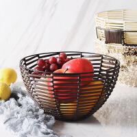 客厅创意水果盆北欧铁艺果篮现代简约家用藤编果盘零食干果收纳筐