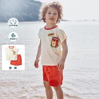 【618年中庆 2件4折价:64】迷你巴拉巴拉男童套装2020夏装新款儿童男宝宝短袖帅气童装