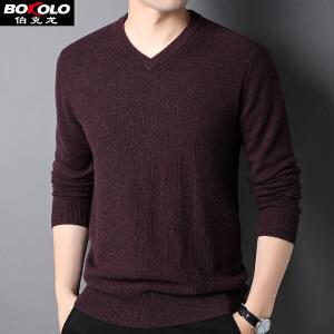 伯克龙 男士POLO翻领加厚羊毛衫 本命年红冬季打底衫青中年针织衫毛线衣YG1288