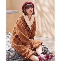 慵懒风长款睡袍女秋冬季加厚女士家居服时尚羊羔绒卡通珊瑚绒睡衣