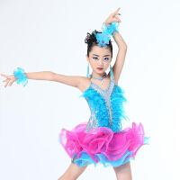 儿童拉丁舞表演服新款女童亮钻流苏拉丁舞裙少儿拉丁比赛服装
