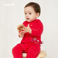 【活动价:192】安奈儿婴儿衣服新款春秋拜年服连帽长袖连体哈衣爬服外出