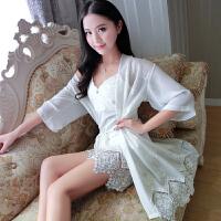带胸垫性感睡衣情趣内衣透明薄纱秋冬吊带睡裙两件套聚拢小胸 9163白色