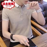 男士短袖T恤夏季翻领polo衫潮流半袖体恤纯色衣服韩版修身打底衫