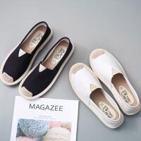 夏季新款透气一脚蹬懒人鞋老北京帆布鞋女韩版休闲百搭学生布鞋女