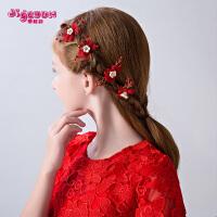 儿童花仙子发夹发叉头饰公主发箍女孩发卡红色演出发饰饰品U型夹