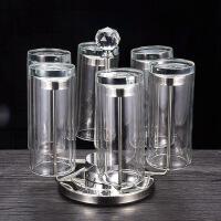 家庭玻璃杯套装家用水杯水具杯具客厅杯子8件套茶杯喝水带杯架 双层杯6只装加杯架