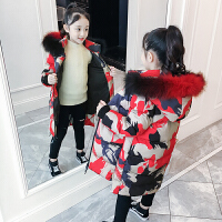 儿童棉衣2018新款冬季韩版潮外套女孩中长款迷彩加厚棉服