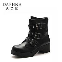Daphne/达芙妮旗下鞋柜 中筒靴皮带搭扣帅气舒适马丁靴女