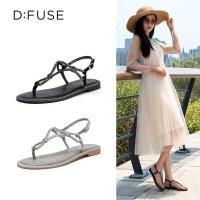 迪芙斯(D:FUSE)2019夏专柜同款亮片装饰丁字扣带显瘦仙舒适女凉鞋DF92115163