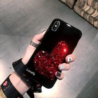 日韩苹果X手机壳水钻爱心iPhone7plus挂绳全包8p保护套新款6s全包