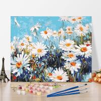 数字油画diy手工自绘动漫填色减压油彩画花卉雏菊简约装饰画