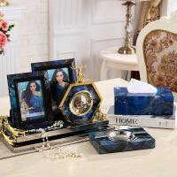 美式样板房家居客厅装饰品摆件欧式创意鹿头时钟座钟床头台钟摆台 图片色