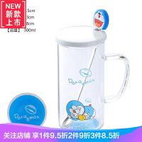 哆啦爱梦水杯玻璃喝水杯子可爱卡通少女心机器猫小早餐牛奶咖啡杯
