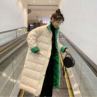 韩版轻薄羽绒服女学生中长款大码撞色宽松羽绒外套女