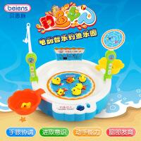 儿童音乐灯光磁性钓鱼盘玩具套装 宝宝玩具1-3岁68015