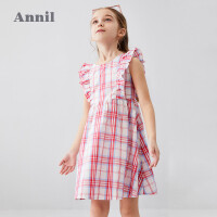 【3件3折价:78.9】安奈儿童装女童连衣裙无袖2020夏季新款中大童时尚褶边条纹学生裙