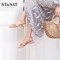 【领券减100】St&Sat/星期六夏季新款凉鞋中后空低平跟粗跟鞋女SS92114350