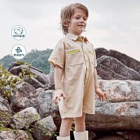 迷你巴拉巴拉儿童裤子男童连体裤短裤2020夏装新款宽松连衣裤短款