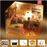 小屋难闺蜜大的小型蓝白礼物盒时间现代风房子模型玩具手工