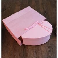 礼物盒子爱心形 情人节爱心礼盒桃心形节日生日礼品盒口红巧克力包装盒子 +纯粉纸袋+粉碎纸
